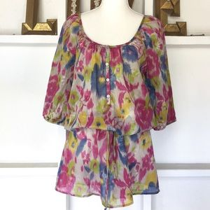 Anthropologie Sheer Tunic Top Dress Coverup S